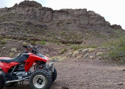 2b red honda with view of eldorado canyon trails